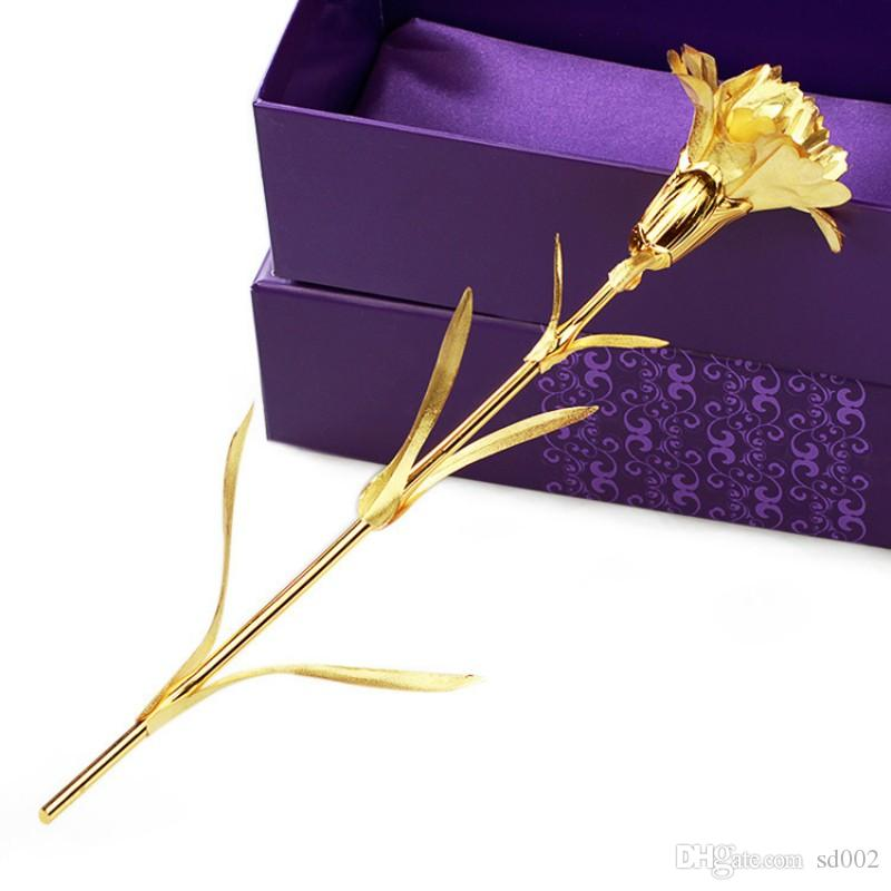 New Mothers Day Geschenkpackung Solid Gold Plated Hand Made Non Fading Lebensechte Nelke Glück Blume Nelke High Grade 6dq Y