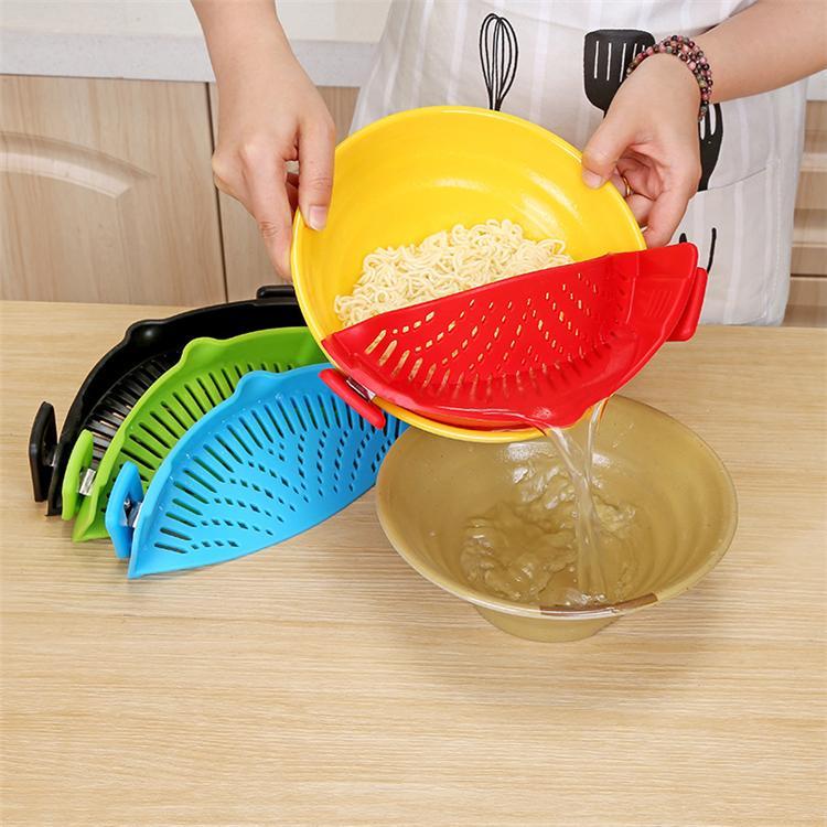 es Cocina Colador de silicona Lavado Cocina Comida Limpia Clip-On Colador Colador Líquido Separado T2I264