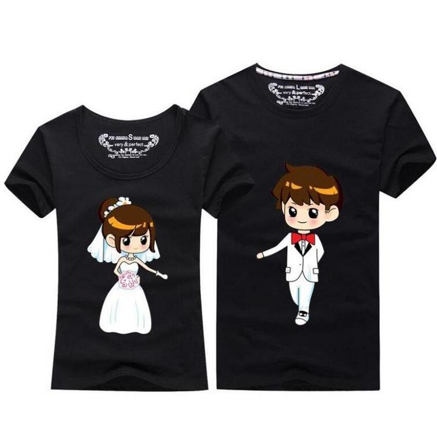 ebb346d766b2 Summer Tops 2018 Kawaii Couple T Shirt For Wedding Men And Women O Neck  Short Sleeve T Shirt Cute Cartoon TShirt Couple Clothes Novelty Tee Shirts  Awesome ...