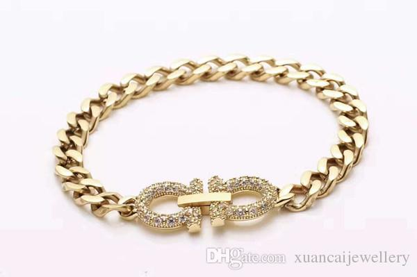High-end de comércio exterior de jóias por atacado de aço pulseira de titânio mulheres full diamond duplo-símbolo rose pulseira de ouro D pulseira