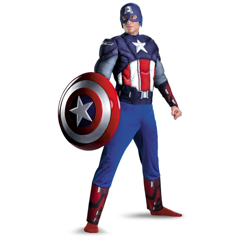 Acquista In Vendita Uomini Adulti Captain America Muscle Chest Avengers  Costume Marvel Superhero Fantasy Movie Fancy Dress Cosplay Clothing A  40.6  Dal ... 54d03837841