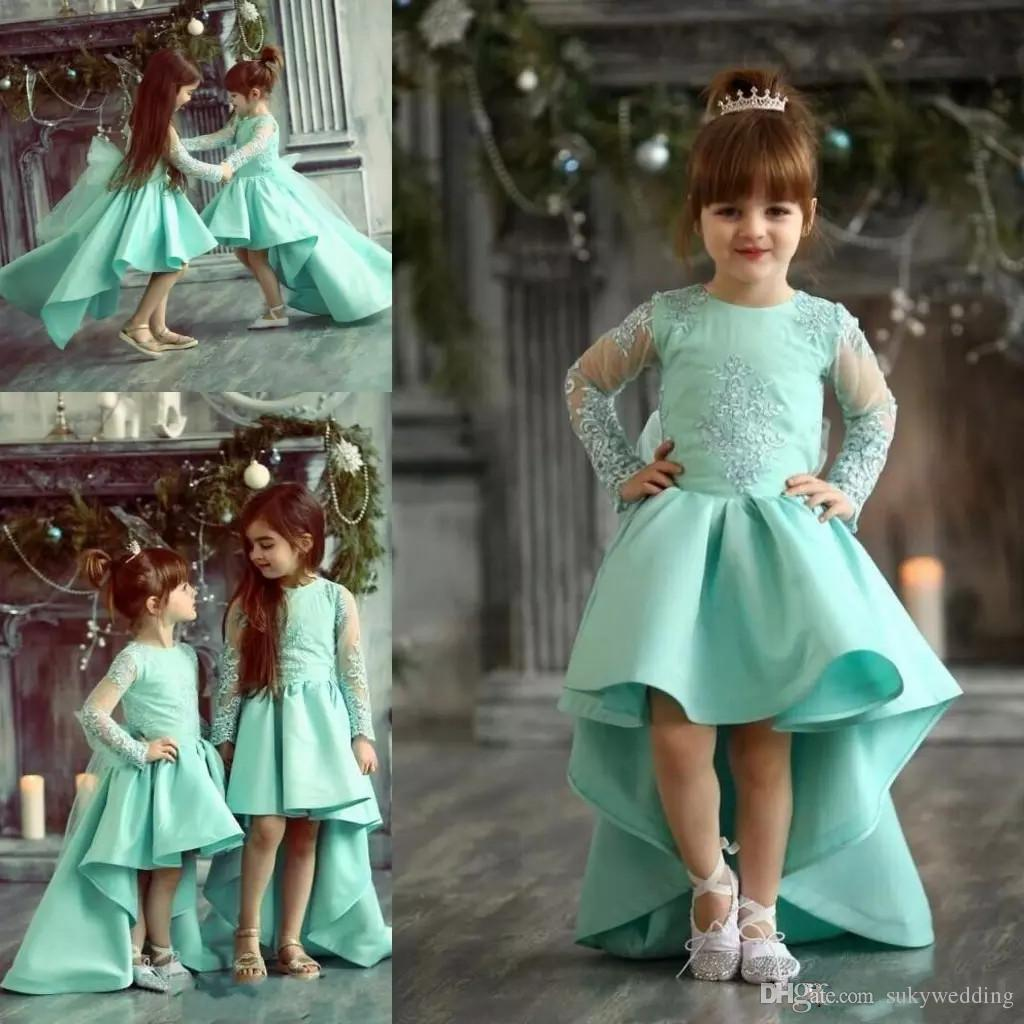 4e73361a130 Mint Flower Girls Dresses For Weddings Jewel Neck Lace Appliques Illusion  Long Sleeves High Low Children Birthday Dress Girl Pageant Gowns Flower  Dress Girl ...