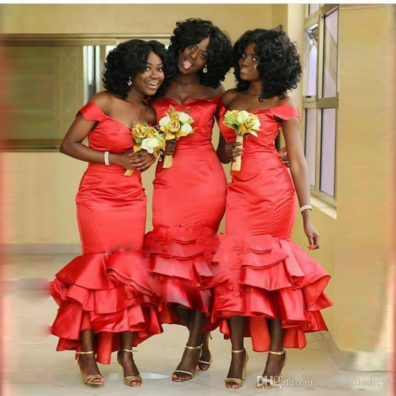 African Red Mermaid Bridesmaids Dresses 2018 Off Shoulder Plus Size Tea  Length Maid Of Honors Dresses Cascading Ruffles Tiered Satin Long Dresses  For ... fdc9e35dde9a