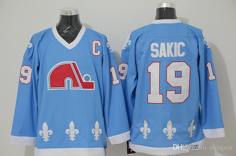 5a33f1bfd7d 2019 Quebec Nordiques Joe Sakic Hockey Jerseys Vintage CCM 19 Joe ...
