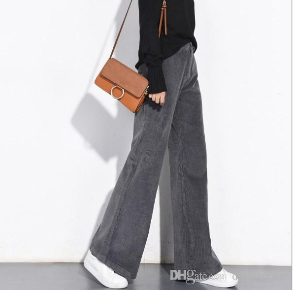 Women High Waist Corduroy Pants Gray Blue Female Loose Wide Leg Trouser Autumn Winter Female Palazzo Pants With Flare Bottom