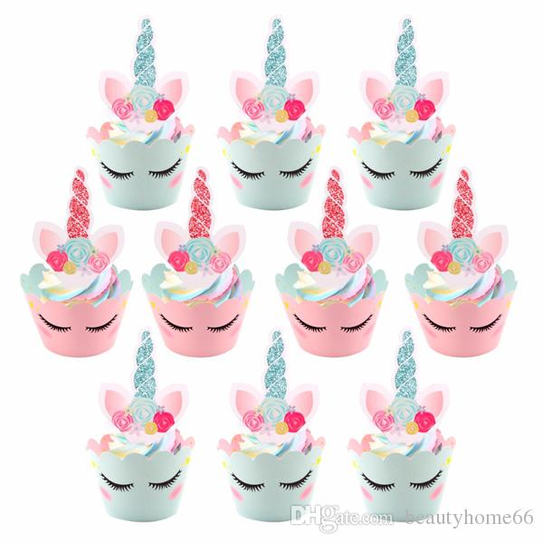 2019 Unicorn Cake Toppers Rainbow Birthday Wrappers Happy Decor Party Supplies From Beautyhome66 321