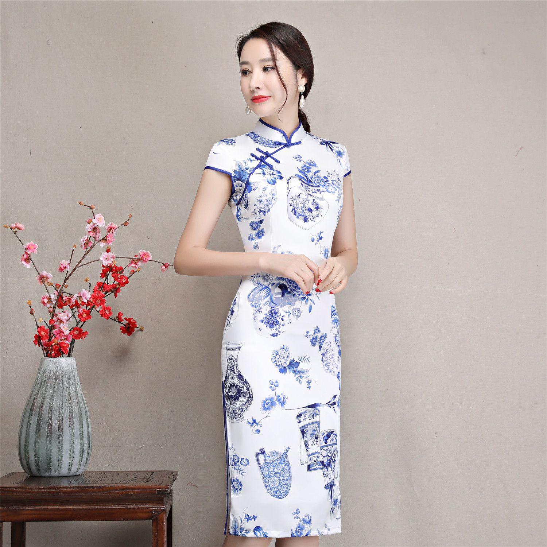 8d3feb48aea Shanghai Story Short Qipao Faux Silk Chinese Traditional Dress Oriental Dress  Chinese Women s Clothing Vintage Cheongsam Qipao Dress Cheongsam Traditional  ...