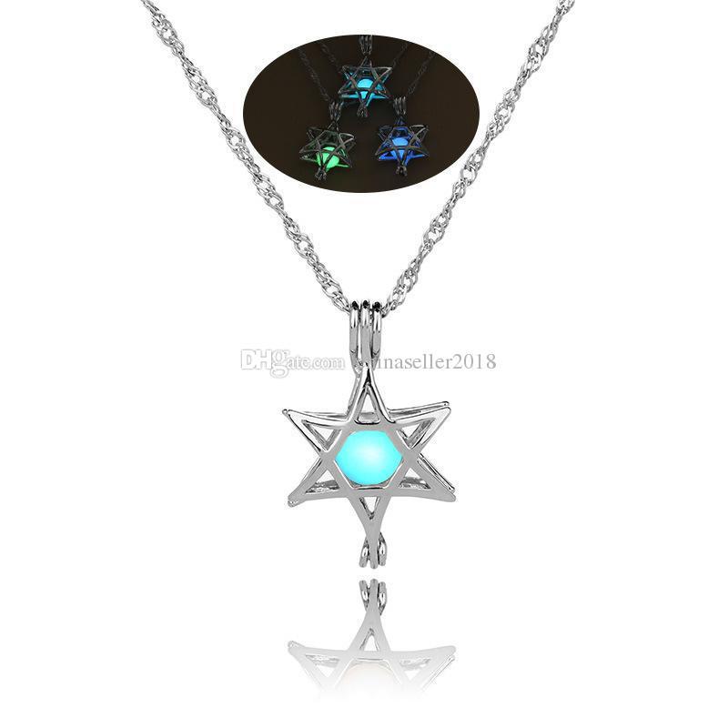 16 projetos de Luxo Brilho no colar de pedra escura Aberto 3 cores luminosa pérola gaiola pingente colares Para as mulheres Senhoras Moda Jóias