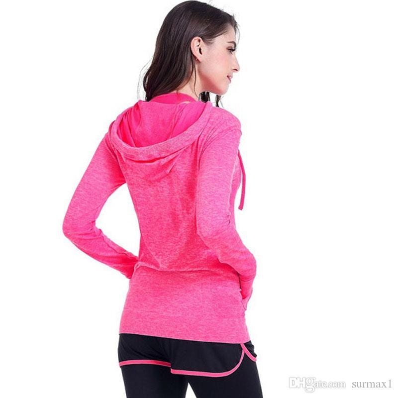 Abbigliamento sportivo da donna taglia S-L giacche ad asciugatura rapida a quattro colori con cappuccio Abbigliamento sportivo da corsa a maniche lunghe con cerniera