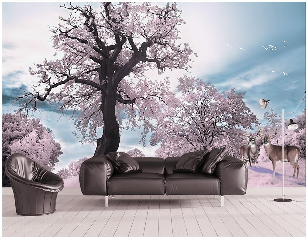 3d wallpaper on the wall custom photo mural Pink forest big tree elk landscape living Room wallpaper for walls 3 d Home decoration