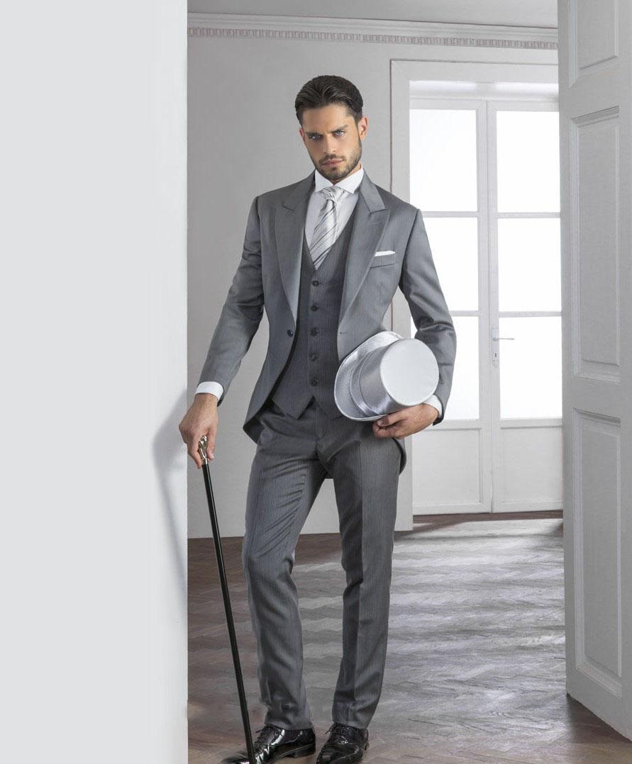 Grosshandel Custome Made 2018 Vintage Grey Herren Hochzeit Anzuge