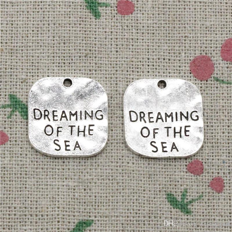 50pcs Charms dreaming of the sea 19mm Tibetan Silver Vintage Pendants For Jewelry Making DIY Bracelet Necklace