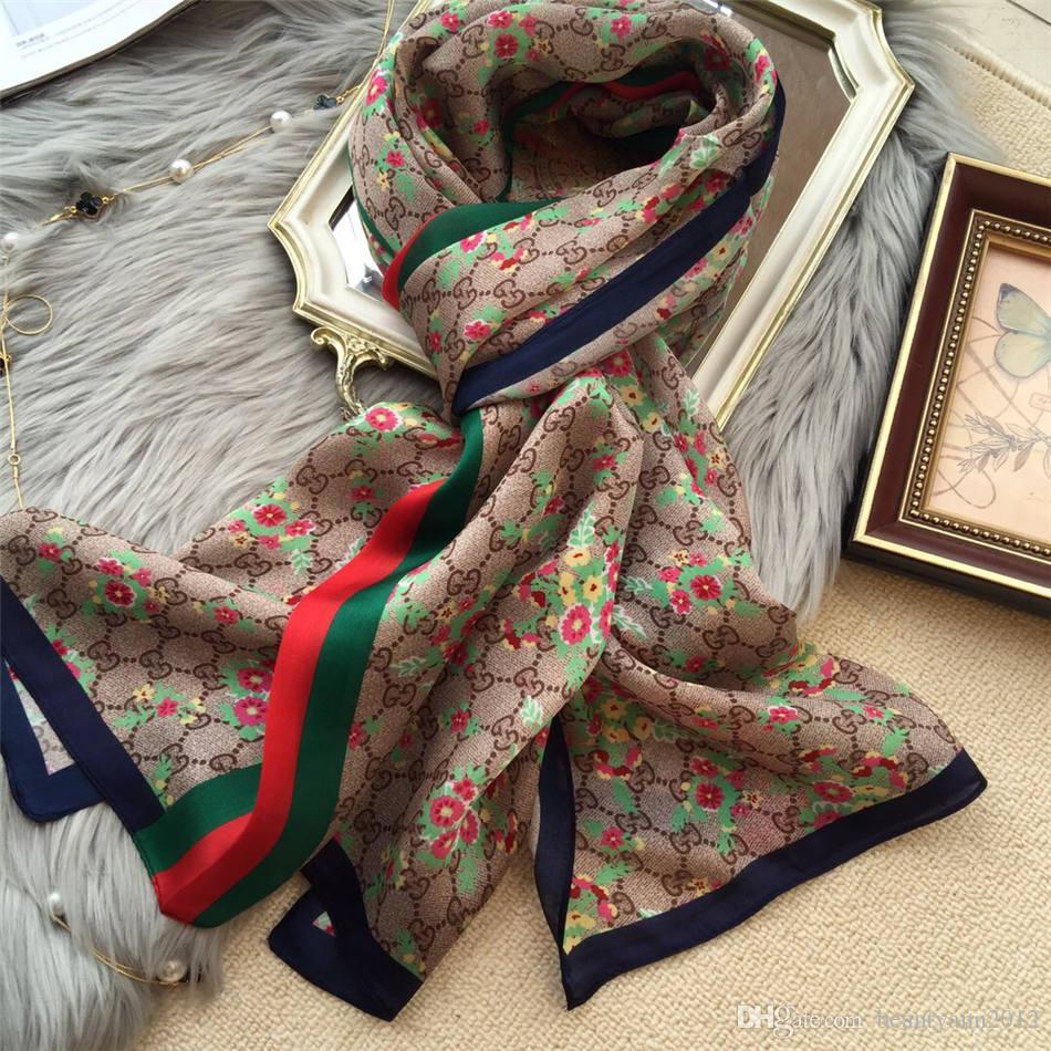 9b6f1bd2374c Acheter 2018 Nouvelle Marque Femmes Foulard Automne Hiver Foulards De Soie  Châles Et Enveloppes Dame Pashmina Plage Étoles Foulard Hijab 180   65cm De  ...