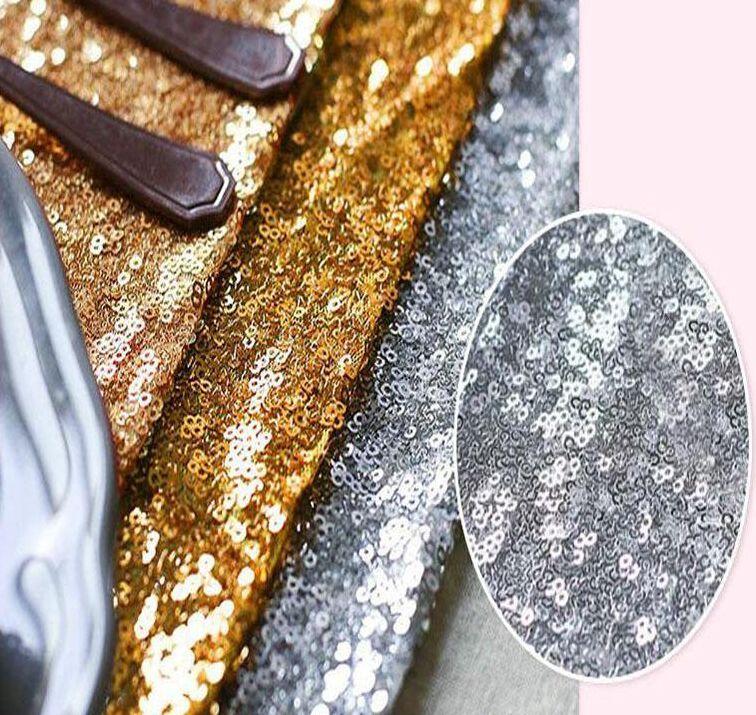 30 * 275 سنتيمتر النسيج الجدول عداء الذهب والفضة الترتر الجدول القماش سباركلي بلينغ ل إمدادات حفل زفاف منتجات الديكور