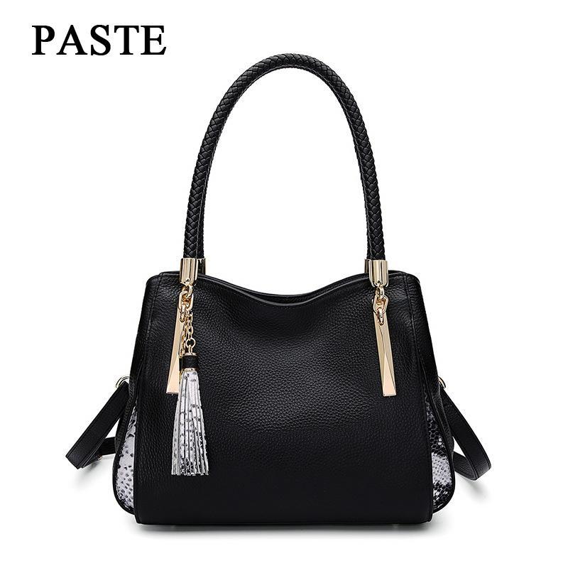 390ea88fc6 Paste Brand 100% Genuine Leather Ladies Bag Cowhide Women Handbags  Messenger Bags Large Capacity Female Shoulder Bag Obag LSH237 White  Handbags Satchel ...