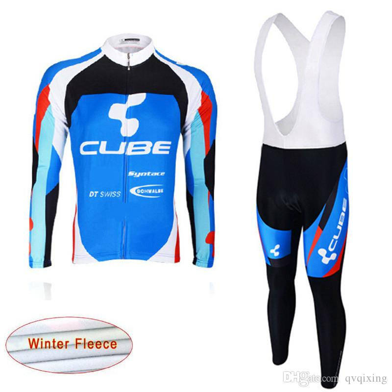 a51f4e507 2019 Cube Winter Cycling Jersey Set Long Sleeve Road Bicycle Thermal Fleece  Sports Suit Mtb Bike Clothing Outdoor Racing Clothes Y021408 Road Bike  Jerseys ...