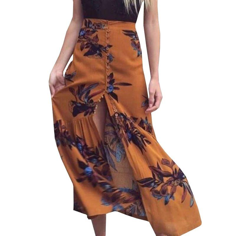 f6a9db9b63 2019 Vintage Floral Print Beach Long Skirt Women High Waist Buttons Maxi  Skirt Summer Elegant Split Sexy Femme New From Bigseaa, $26.85 | DHgate.Com
