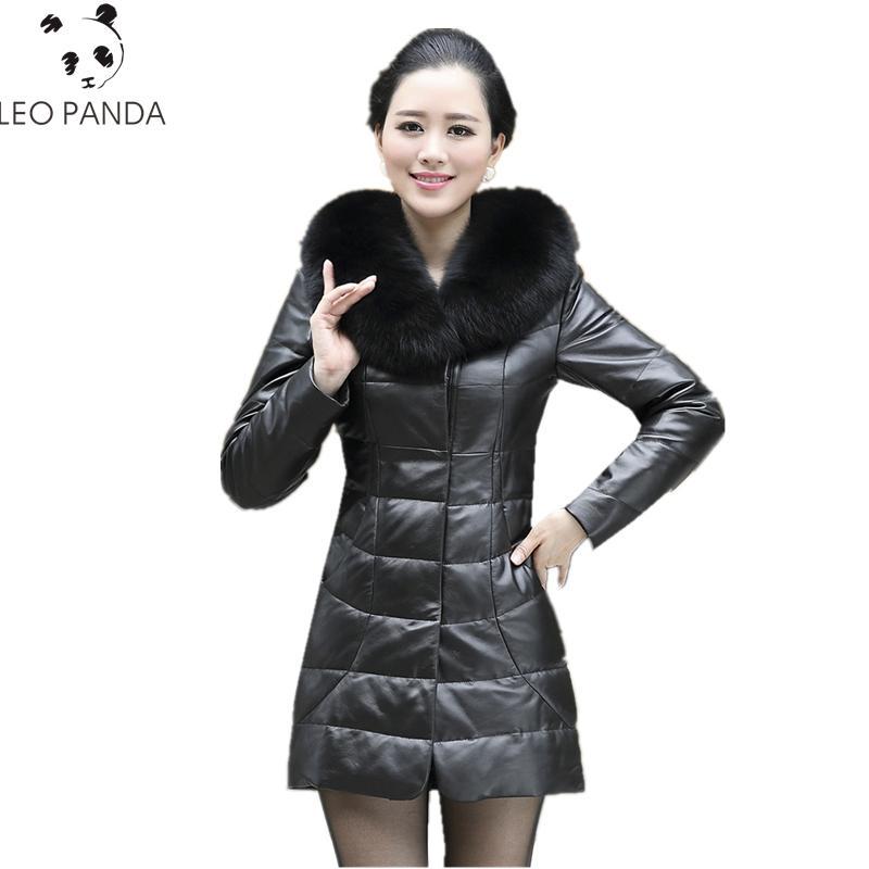 0cb5db5321f Sheepskin Fox Fur Collar Leather Jacket Winter Women Plus Size M 5XL Down  Long Coats High Quality Black Leather Female Overcoat UK 2019 From  Shuangyin1998