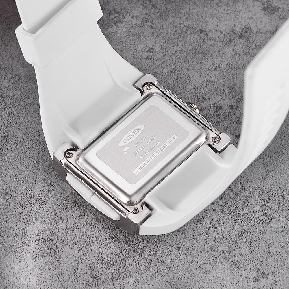 الأصلي OHSEN الرقمية الرياضة ووتش ساعات المعصم الرجال الرجال سيليكون للماء أزياء الفرقة اليد البيضاء الساعات ساعات لبيع الهدايا
