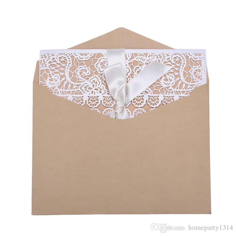 White Hollow flower Rustic Wedding Invitations Engagement Wedding Business Invitation & thank you Cards With Ribbon Envelope Seals