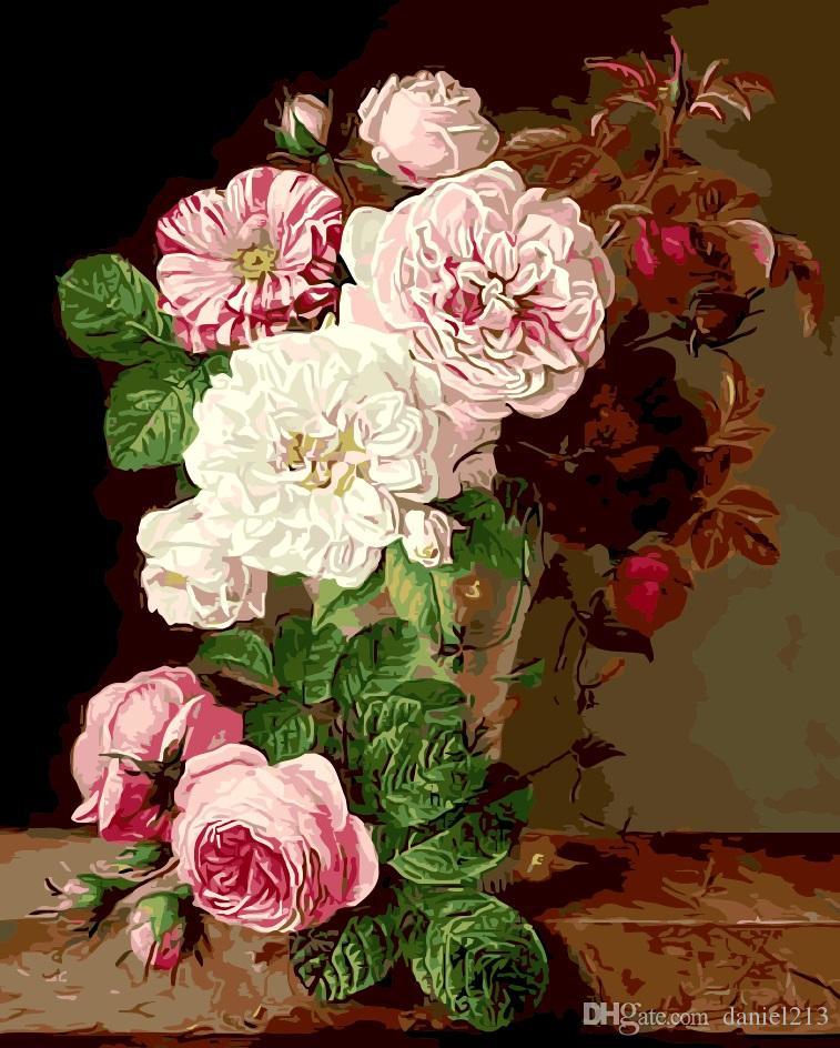 Großhandel 16x20 Zoll Bloom Pink Blume Diy Malen Auf Leinwand ...