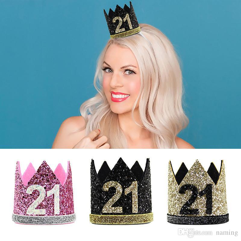 21st Birthday Hat Girl Gold Black Priness Crown Number 21 Year Old Party Glitter Headband Anniversary Headdress Themes Top From