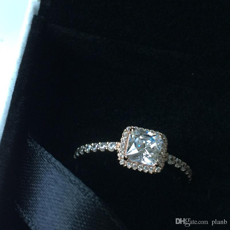 حقيقي 925 فضة تشيكوسلوفاكيا خاتم الماس مع الشعار الأصلي مربع صالح باندورا نمط 18 كيلو الذهب خاتم الزواج مجوهرات الخطبة للنساء