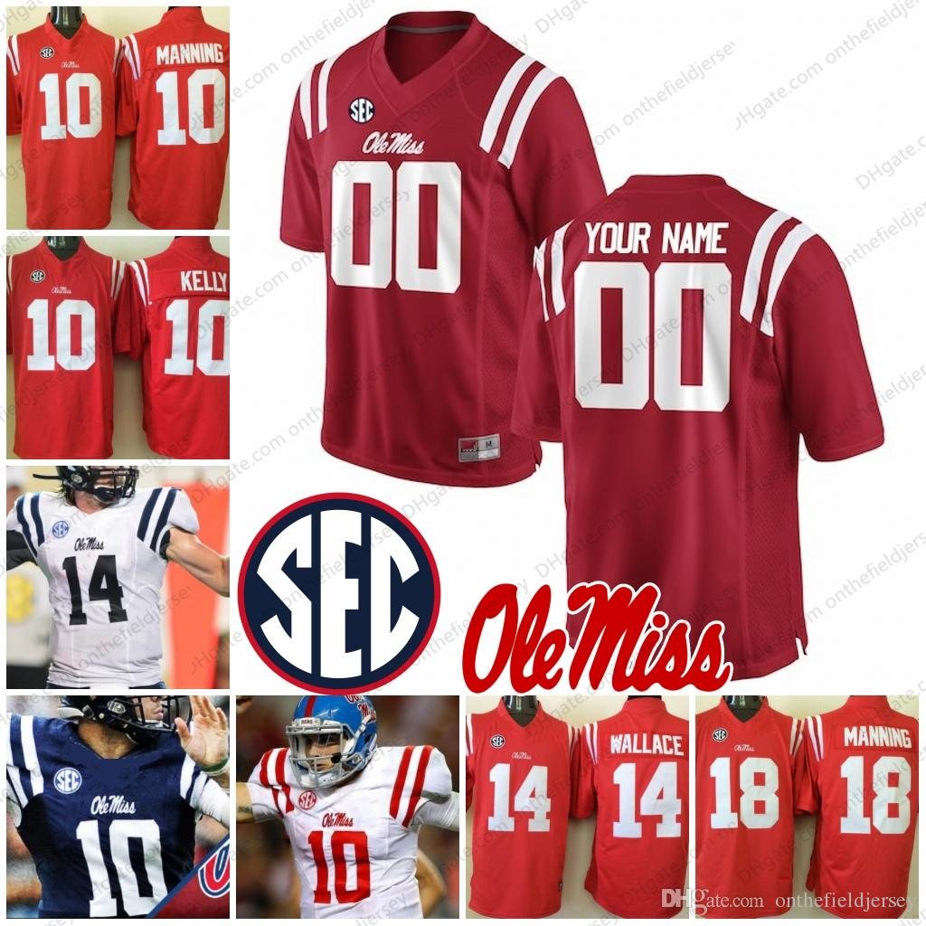 cheaper d798b f2528 Custom Ole Miss Rebels Any Name Number Mens Youth Kids Womens Red White  Navy Blue Ta'amu Manning Kelly College Football Jerseys S-3XL