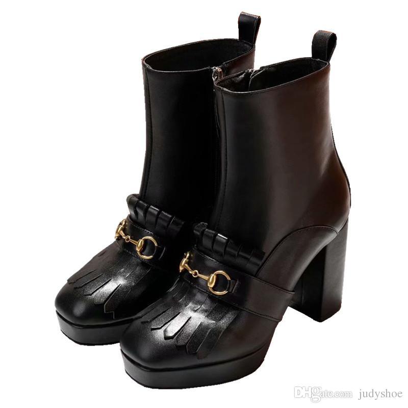 9b2a15bede8 Metal Horseshoe Chain Decor Boots Women Platform 9.5 Cm High Heel ...