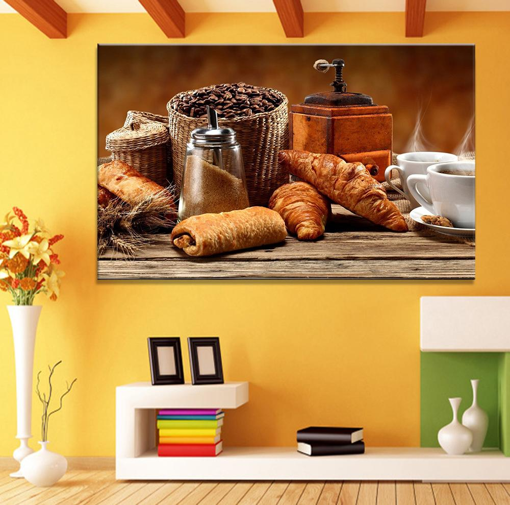 2018 Modern Canvas Art Abstract Still Life Coffee Bread Painting ...