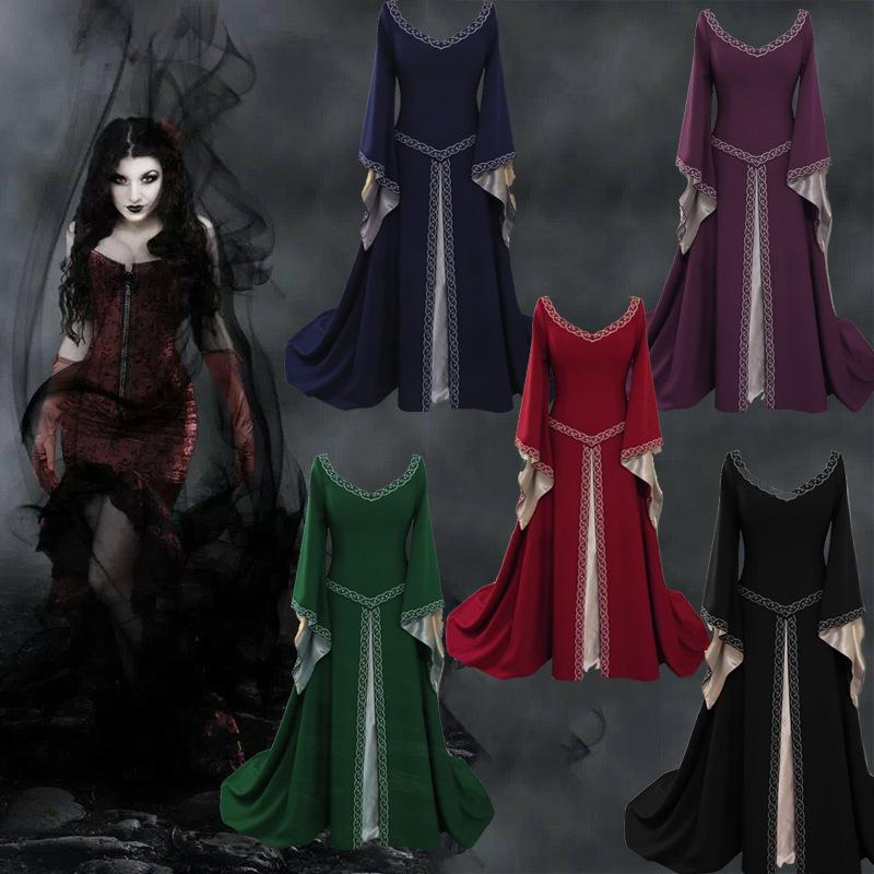 Adult Women Medieval Costume Long Gown Dress Victorian Red Bell Sleeve  Square Collar Back Lacing Wedding Clothes For Ladies XXL Plus Size Costumes  Witch ... 5d509ccff9ba