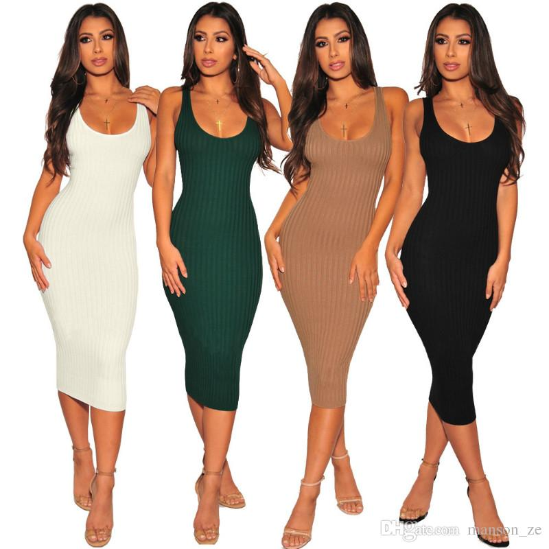 Women Sexy Knitting Dress 2018 Sexy Slim Bodycon Dresses Elastic Skinny  Midi Party Dresses Brief Tank Dress Club Ladies Dresses Vestidos XXL Ball  Gowns Wrap ... 96f16ae00533