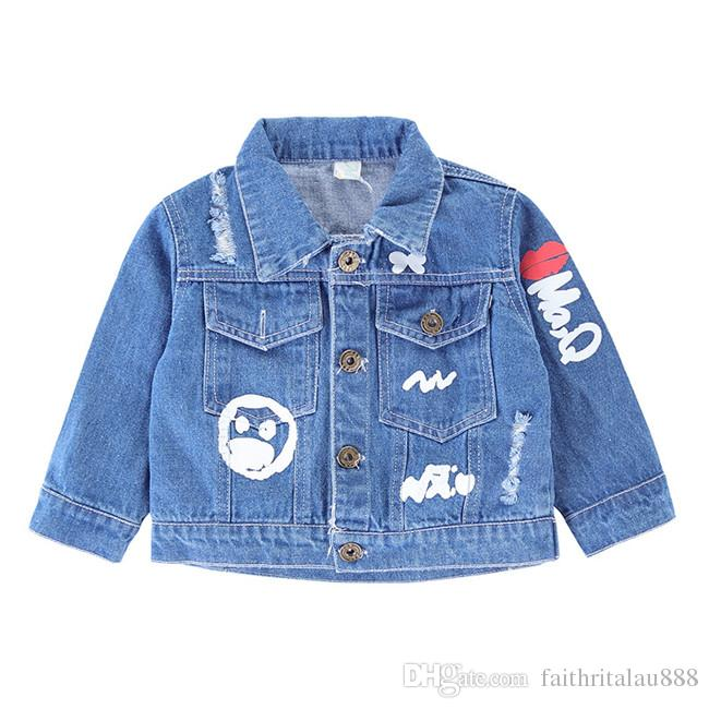 a62f7bdbf965 New Arrival Boys Girl Jackets Coats Fashion Casual Scrawl Baby Denim ...