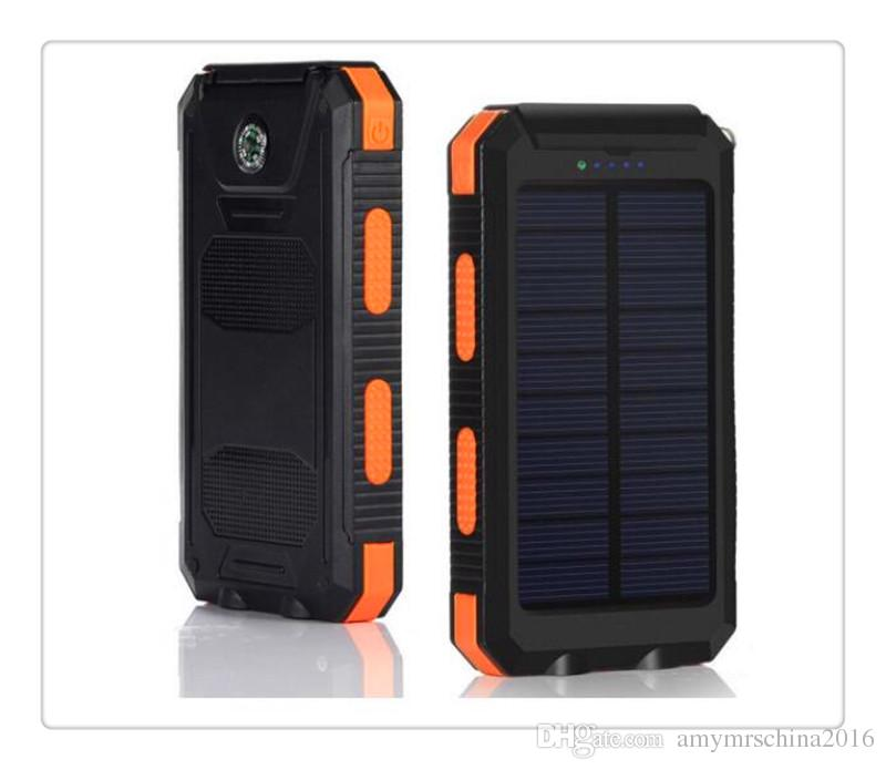 20000mAh Novel solar Power Bank Ultra-thin Waterproof Solar Power Banks 2A Output Cell Phone Portable Charger Solar Powerbank