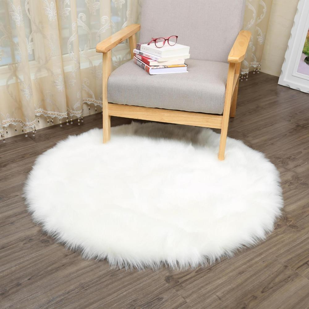Muzzi Round Sheepskin Chair Cover Seat Pad Soft Carpet Hairy Plain Skin Fur  Plain Fluffy Area Rugs Bedroom Faux Carpet Mat 006 Blanket Lambswool  Blanket ...