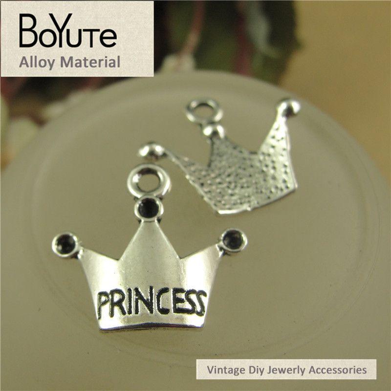 BoYuTe  19*17MM Antique Bronze Silver Plated Zinc Alloy Charms Princess Crown Pendants Diy Jewelry Accessories Wholesale