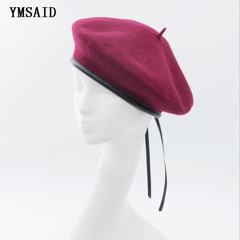 Ymsaid Leather French Beret Cap Black Female 100 Wool Felt Painters Berets  For Women Winter Autumn Beanie Hat Size 56 58cm UK 2019 From Bojiban dfa7172cf12c