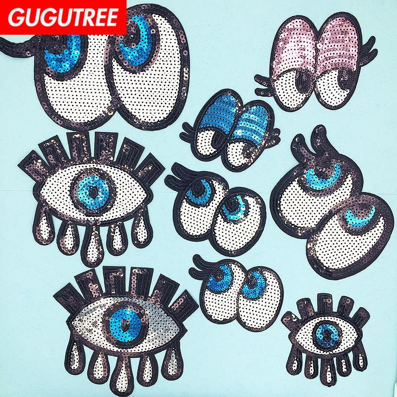 GUGUTREE sequins embroidery eyes patches cartoon patches badges applique patches for clothing SP-90