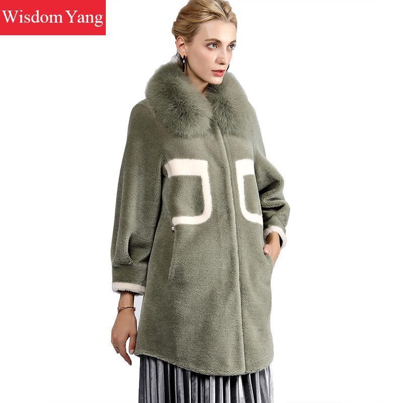 online store 35cd8 755ab Elegante Frauen-beige grüne Schaf-Wollkaschmir-Mäntel  Fuchspelz-Kragen-Winter-warme lange weibliche Woolen  Damen-Mantel-Oberbekleidung