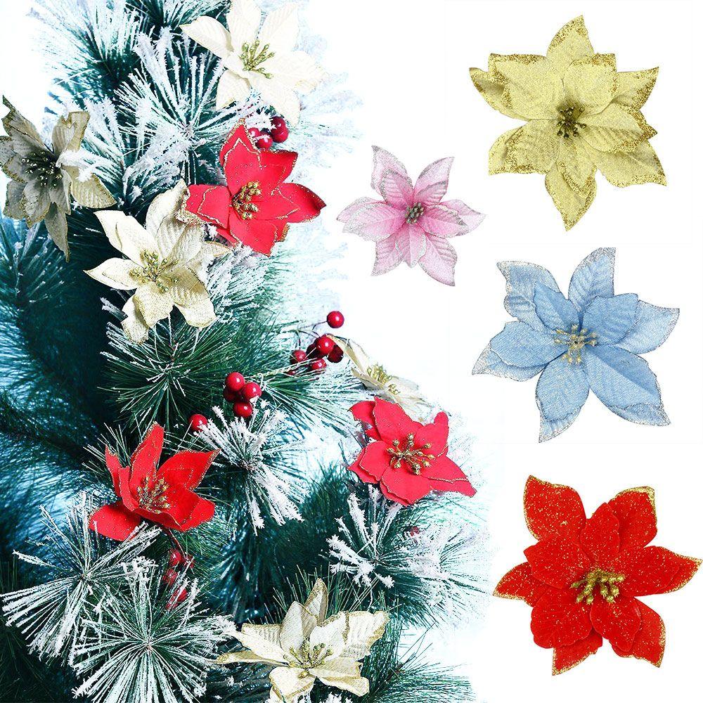 2019 Bulk 15cm 511 Glitter Christmas Poinsettia Artificial Plant