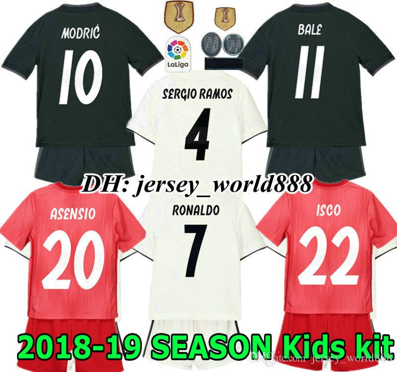 18 19 Kids Real Madrid Jersey Home Away Soccer Kits Adult RONALDO ... 0a7a5ed084ac1