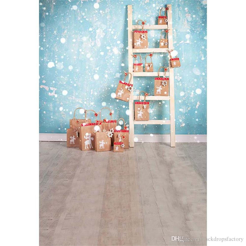 Blue Painted Wall Christmas Backdrop Wood Floor Printed Polka Dots Ladder Presents Family Baby Kids Xmas Party Photo Background