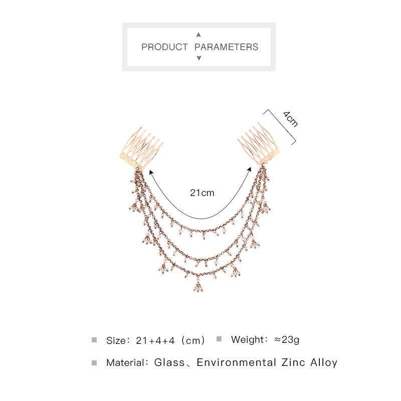 Women Small Beads Pendant Layered Link Chain Hairbands Antique Gold Color Hair Comb Wedding Vintage Hair Jewelry