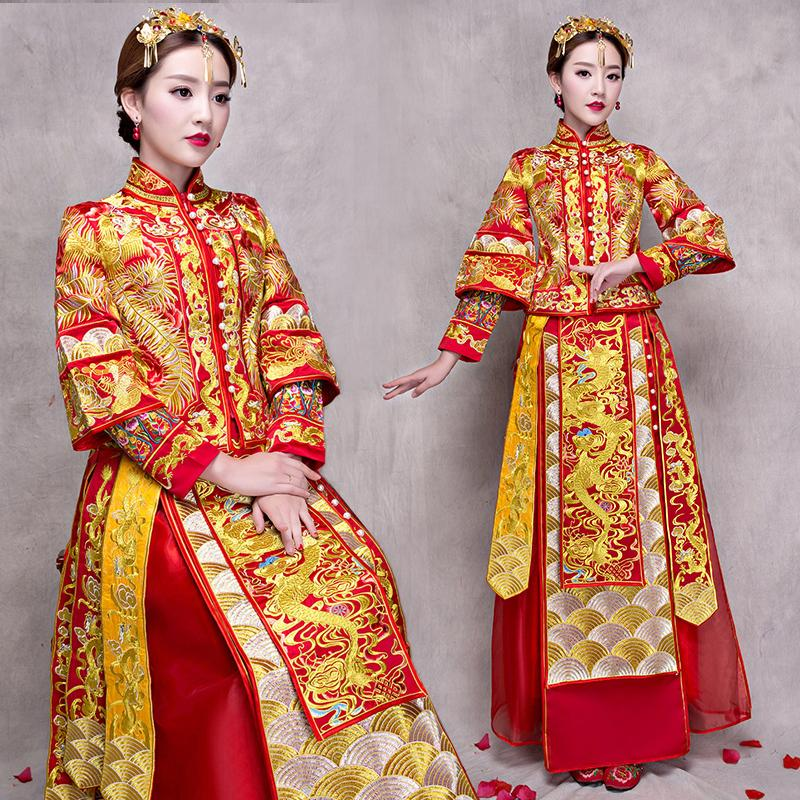 df176a09c 2019 Bride Cheongsam Vintage Chinese Style Wedding Dress Retro Toast  Clothing Lady Embroidery Phoenix Gown Marriage Qipao Red Clothes From  Balljoy, ...