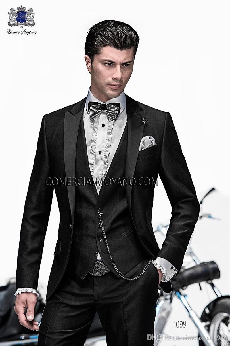 2018 Italian Custom Made Coat Black Peaked lapel Wedding Suits For Men Groomsmen Suits Groom Tuxedos For Men Bridegroom Jacket+Pant+Vest