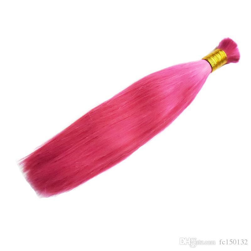 Человеческие волосы для плетения навалом нет крепления пучки 100 г прямой розовый человека плетение волос навалом
