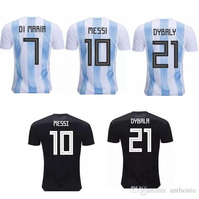 purchase cheap 512d4 b9389 Argentina 2018 MESSI MARADONA DI MARIA DYBALA HOME AWAY CUSTOMIZED soccer  uniform kits soccer jerseys thailand quality football shirts kit