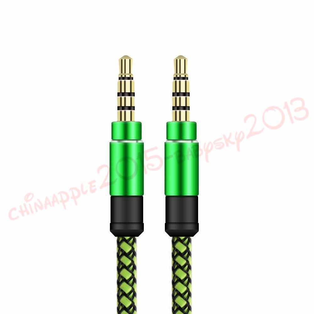 Braided Weave AUX Audio Cable 5FT 1.5M 3.5mm Male Stereo Aux Audio Extendtion Cables For Cell phones MP3 Speaker Tablet PC