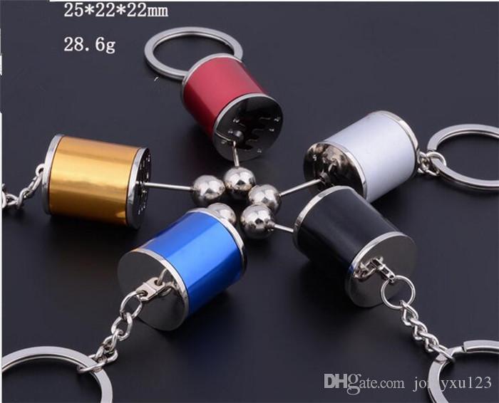 Keychain Key Ring Creative Metal Zinc Alloy Gear Shift Knob Rod 6-Speed Manual / Automotive Transmission Turbo Keyring Key J047