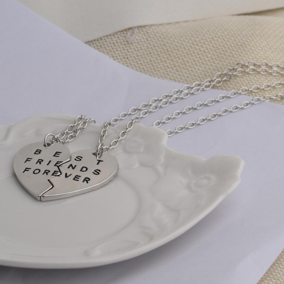 Meilleurs amis pour toujours BFF lettre collier femmes coeur 2 pièces Splice pendentif colliers filles bijoux d'amitié